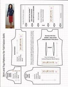 """This is my """"Skirt and Top Patterns for Tall Dolls,"""" and it's #11 on my list of the """"Top 15 Downloaded Patterns from ChellyWood.com."""" If you haven't heard about t…"""