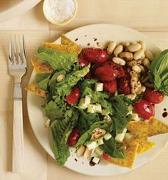 Crispy cornmeal polenta is the health star of this salad: It may be easier for your body to absorb corns carotenoids from milled products such as polenta, rather than from whole kernels.