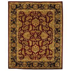 Handmade Heritage Kashan Burgundy/ Black Wool Rug (7'6 x 9'6) | Overstock.com Shopping - Great Deals on Safavieh 7x9 - 10x14 Rugs