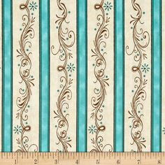 Amazing Grace Stripe Teal from @fabricdotcom Designed by Kensington Studio for Quilting Treasures, this cotton print fabric is perfect for quilts, home décor accents, craft projects and apparel. Colors include brown, cream and various shades of teal.