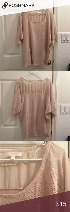 Anthropologie Sheer Oversized Sweater Used but still has a lot of life in it. Some pilling on the back bottom side. Sheer shoulders and pretty knit pattern. Fits oversized. More of a tan cream color in person, the picture is a little too pink. Anthropologie Sweaters Crew & Scoop Necks