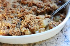 Pear Crisp, from the Pioneer woman. (make gluten free by using a GF flour mix in place of AP flour; make vegan by using vegan sugar and earth balance.)