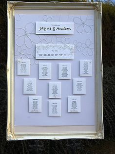 WEDDING SEATING PLAN LARGE SHABBY CHIC FRAME CHOICE OF FRAME AND BOARD +FREE P | eBay