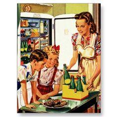 Familia del vintage en la cocina que come un bocad tarjetas postales