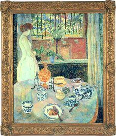 """Dining Room, London,"" Lillian MacKendrick, 1954, oil on canvas, 36 x 30"", Vincent Vallarino Fine Art."