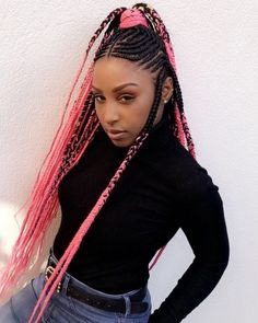 Fulani Braids with Bright Pink Yarn Extensions Try On Hairstyles, Box Braids Hairstyles, Trending Hairstyles, Layered Hairstyles, Protective Hairstyles, Hairdos, Natural Hairstyles, Protective Styles, Pink Hair Extensions