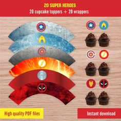 Super heroes party printables - cupcakes and wrappers - Party stickers and  labels Superhero Party c2e78a980dc73