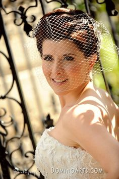 Beautiful and very classy #bridal #hair style - curly with #birdcage Vizcaya Gardens,