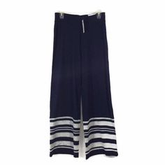 CHICO'S NEW ZENERGY Filomena Striped Border Pants Womens Wide Legs Navy Gray NWT #Chicos #WideLegs