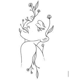 Flower woman tattoo Cool Art Drawings, Pencil Art Drawings, Art Drawings Sketches, Simple Line Drawings, Tattoo Sketches, Simple Line Tattoo, Flower Sketches, Abstract Drawings, Easy Drawings