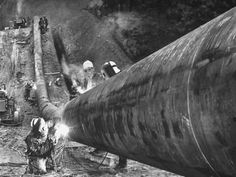 Photographic Print: Workers From Gulf Interstate Gas Co. Welding Pipe to Be Used in Natural Gas Pipeline : 24x18in