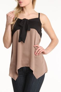 Tie Top in Khaki & Black