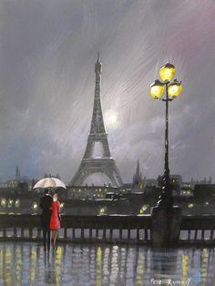 Eiffel Tower Poster & Decor Black Canvas Art, Paris Illustration, Rain Art, Umbrella Art, Wall Clock Design, Camping, Beautiful Places To Travel, Cool Photos, Amazing Photos