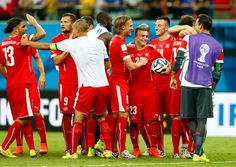 Switzerland players celebrate victory after the 2014 FIFA World Cup Brazil Group E match between Honduras and Switzerland at Arena Amazonia on June 25, 2014 in Manaus, Brazil.