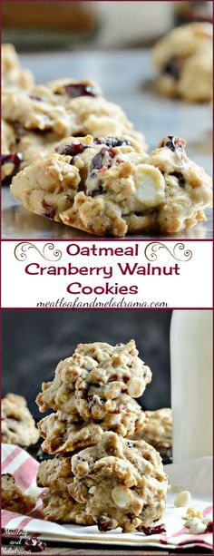 made with regular chocolate chips. A bit dry Oatmeal Cranberry Walnut Cookies -- Loaded with dried cranberries, walnuts and white chocolate chips, these soft, chewy cookies are easy to make and perfect for fall! Köstliche Desserts, Delicious Desserts, Dessert Recipes, Fall Cookie Recipes, Rice Recipes, Yummy Recipes, Recipies, Healthy Recipes, Walnut Cookies