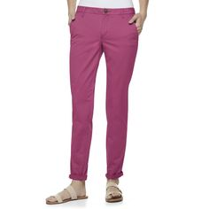 Juniors' SO® Cuffed Chino Skinny Pants, Teens, Size: 13, Pink