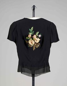Schiaparelli silk, beads, sequins and artificial flowers evening blouse ca. 1938