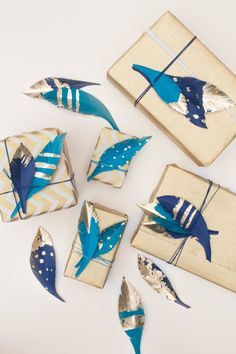 DIY Feather Gift Wrap Adornment - Style Me Pretty