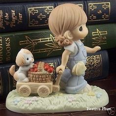720012 Precious Moments Strawberry Wagon with Puppy