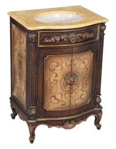 Hand Painted and Hand Carved Bathroom Vanity