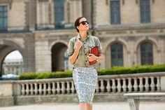 Garance Dore - effortless chic in J. Crew.  Love army shirt w/sequin pencil skirt
