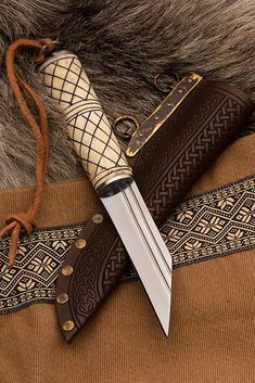 Vikings Tv Show, Cross Hatching, Viking Warrior, Black Stains, Bone Carving, High Carbon Steel, Knives And Swords, Dark Brown Leather, Historical Clothing