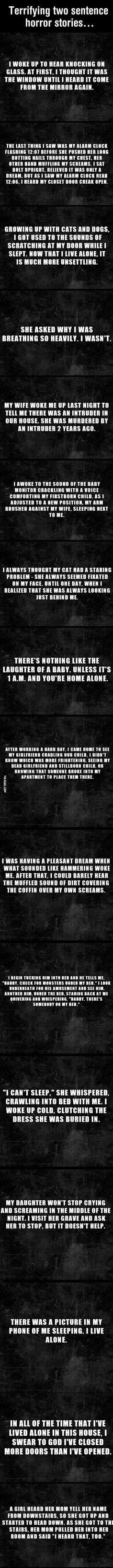Terrifying Two Sentence Horror Stories scary creepy story unusual interesting ghosts stories paranormal Short Scary Stories, Scary Creepy Stories, Ghost Stories, Creepy Stuff, Scariest Stories, 2 Sentence Horror Stories, Funny Sites, Movie Blog, Writing Prompts