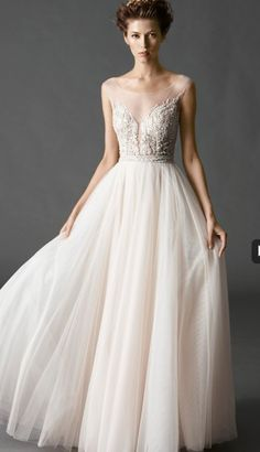 Beautiful sheer neck line - wedding dress. Watters