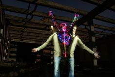 Light Skeletons and Figures Painted in Camera by Janne Parviainen