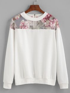 Would like in a non-white color. SheIn offers White Florals Mesh Insert Zipper Sweatshirt & more to fit your fashionable needs. Hijab Fashion, Diy Fashion, Ideias Fashion, Autumn Fashion, Fashion Dresses, Womens Fashion, Mode Outfits, Casual Outfits, Mode Inspiration