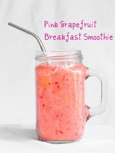 Pink grapefruit breakfast smoothie (1 banana, 1 grapefruit, 1 cup frozen strawberries, 1/2 cup orange juice)
