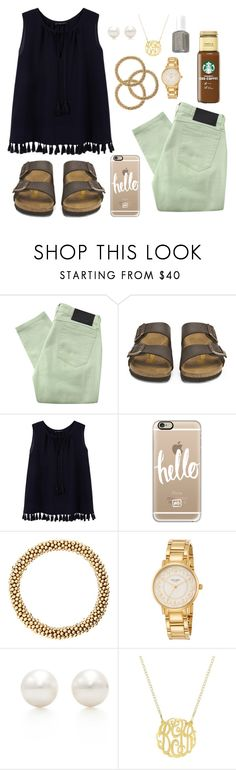"""""""birks"""" by molliekatemcc ❤ liked on Polyvore featuring Religion Clothing, Birkenstock, Violeta by Mango, Casetify, Meredith Frederick, Kate Spade, Tiffany & Co., Essie and mksfavs"""