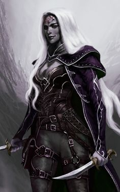 f Drow Elf Rogue Arcane Trickster Leather Armor Cloak Dagger Sword Poison female ArtStation by Mauro Alocci lg Dark Fantasy Art, Fantasy Rpg, Medieval Fantasy, Fantasy Artwork, Dungeons And Dragons Characters, Dnd Characters, Fantasy Characters, Female Characters, Fantasy Portraits