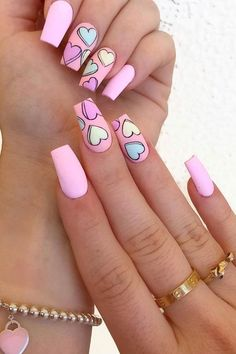 Pink Acrylic Nail Designs, Valentine's Day Nail Designs, Pink Nail Art, Pink Acrylic Nails, Nails Design, Heart Nail Designs, Colorful Nail Art, Cute Nail Art Designs, Different Nail Designs