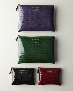 Crocodile-Embossed Patent-Leather Travel Pouch & Carry-All by Graphic Image at Neiman Marcus.