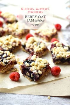 Delicious Berry Oat Jam Bars (Vegan) Recipe - this is one of my fave easy dessert recipes - simple to make and so tasty! Use fresh or frozen berries for an antioxidant-rich, delicious filling. With buttery oatmeal crust. New Year's Desserts, Cute Desserts, Vegan Dessert Recipes, Low Carb Desserts, Christmas Desserts, Vegan Christmas, Vegan Snacks, Simple Christmas, Brunch Recipes