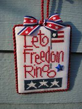 finished completed Lizzie Kate Let Freedom Ring Patriotic cross stitch hanger