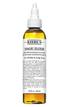 Kiehl's 'Magic Elixir' Hair Restructuring Concentrate - Used regularly, the potent concentration of rosemary leaf and avocado oils penetrates hair and scalp with therapeutic action to restore moisture, improve manageability, soften and boost natural shine. How to use: Apply a small amount to fingertips or directly onto dry scalp and hair using dispensing tip before shampooing. Wait 10 minutes for maximum benefits. Rinse thoroughly or shampoo. Use regularly to maintain hair health.