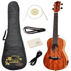 Kaka KUC-25DEQ Concert Acoustic-Electric Ukulele Solid Mahogany Top With Gig Bag Spare Aquila Strings Polishing Cloth And Belt *** Be sure to check out this awesome product.