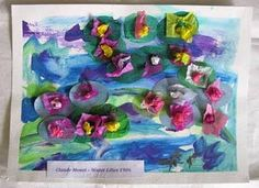 Monet lesson plan. Paint a blue, purple and or green wash of watered down acrylic paint) onto the paper.  Lily pads from green tissue paper in the shape of an oval; purple, yellow, pinks and white wrapped around the eraser end of a pencil to make flowers.