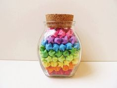 Glass Jar of Rainbow Origami Lucky Stars - Rainbow Star Jar Origami Lucky Star, Origami Star Paper, Origami Arco Iris, Rainbow Origami, Origami Jar, Origami And Quilling, Origami Shapes, Crafts With Glass Jars, Happy Jar