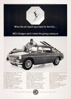 1966 MG Convertible Roadster original vintage advertisement. With a rugged 1,798cc engine, rack and pinion steering, front disc brakes and a firm suspension.