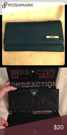 Kenneth Cole Reaction teal wallet Teal color. Multiple cc slots and ID slots. 2 zipper pockets. Kenneth Cole Reaction Bags Wallets