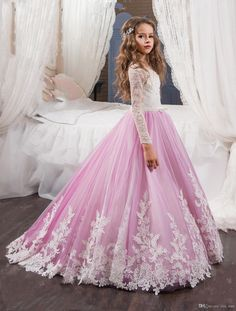 2017 New Flower Girls Dresses For Weddings Jewel Neck White Lace Appliques Sweep Train Party Birthday Children Communion Girl Pageant Gowns Light Pink Flower Girl Dresses Little Girl Bridesmaid Dresses From Yes_mrs, $92.47| Dhgate.Com