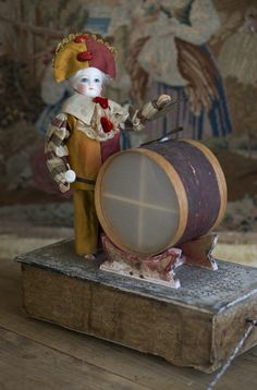 Antique Rare French Polichinelle doll with Drum Mechanical Pull-Toy with Gaultier head