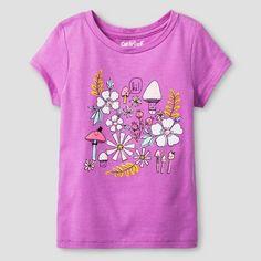Toddler Girls' Floral Short Sleeve Graphic T-Shirt Cat & Jack™ - Purple : Target