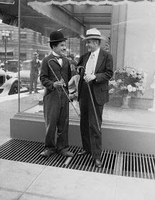 Chaplin with his friend, Ambassador Alexander Moore, on the set of City Lights, c.1929