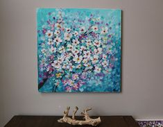 flower painting ,Acrylic painting ,blossoming tree ,cherry blossom,teal, turquoise,tree painting,ori