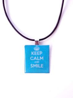 Κρεμαστό λαιμού decoupage Keep calm με υγρό γυαλί.