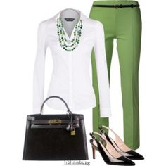 I'd like a plain white button up shirt maybe with a little sparkle on the collar, green pants are cute